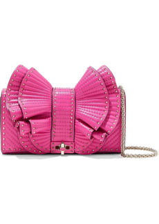 Valentino Garavani Woman Very V Studded Ruffled Leather Shoulder Bag Bright Pink