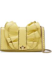 Valentino Garavani Woman Rock Ruffles Studded Leather Shoulder Bag Pastel Yellow