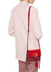 Valentino Garavani Woman Vlogo Ribbon Smooth And Textured-leather Shoulder Bag Red