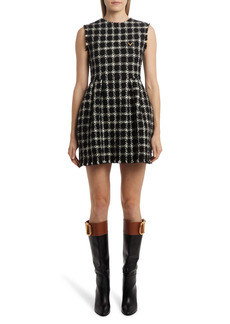 Valentino Houndstooth Tweed Sleeveless Minidress