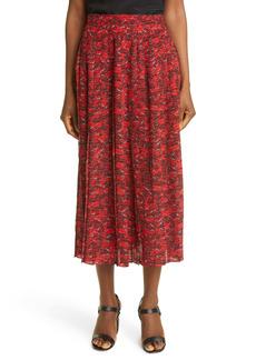 Valentino Le Rouge Print Pleated Silk Crêpe de Chine Skirt