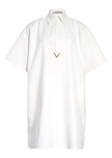 Valentino Logo Split Neck Cotton Shirtdress