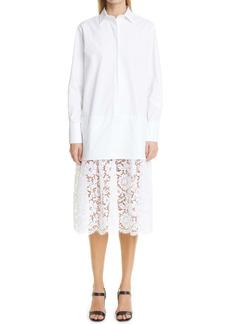 Valentino Long Sleeve Cotton Poplin & Lace Dress