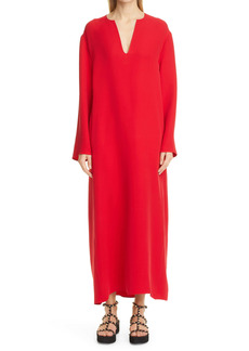 Valentino Long Sleeve Silk Cady Couture Caftan Gown