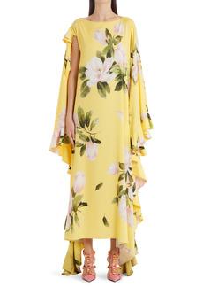 Valentino Peonia Asymmetrical Stretch Silk Dress