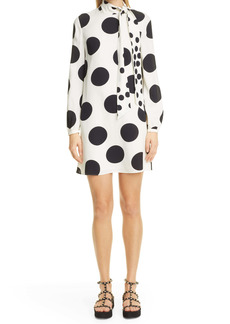 Valentino Polka Dot Tie Neck Long Sleeve Silk A-Line Dress