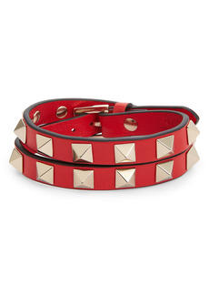 Valentino Rockstud Leather Wrap Bracelet