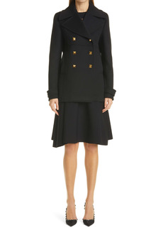 Valentino Roman Stud Double Breasted Wool & Cashmere Coat