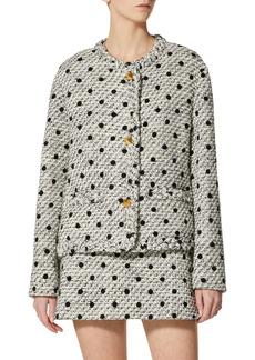Valentino Roman Stud Flocked Dot Wool Blend Tweed Jacket