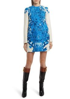 Valentino Sequin Embellished Delft Long Sleeve Minidress