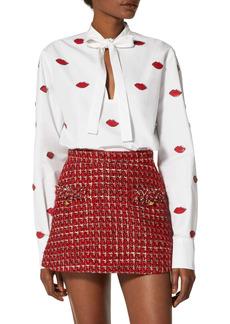 Valentino Sequin Lip Appliqué Cotton Poplin Shirt