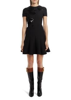 Valentino Sequin Rose Fit & Flare Minidress