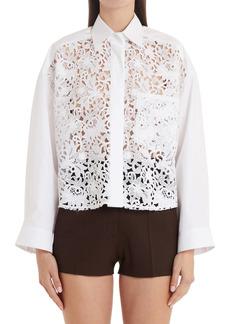 Valentino Technical Poplin Crop Cutout Lace Shirt