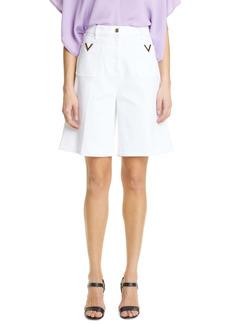 Valentino V-Detail Stretch Cotton Bermuda Shorts