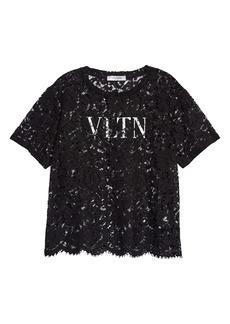 Valentino VLTN Logo Scalloped Lace Top