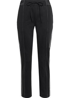 Valentino Woman Appliquéd Satin-jersey Track Pants Black