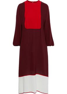 Valentino Woman Color-block Silk Crepe De Chine Midi Dress Claret