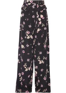 Valentino Woman Floral-print Silk Crepe De Chine Wide-leg Pants Black