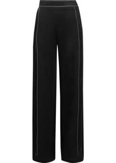 Valentino Woman Pintucked Satin-crepe Wide-leg Pants Black