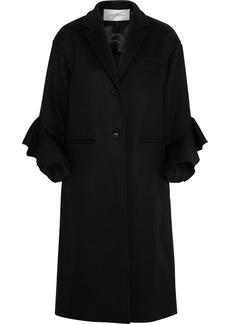 Valentino Woman Ruffled Wool And Cashmere-blend Felt Coat Black