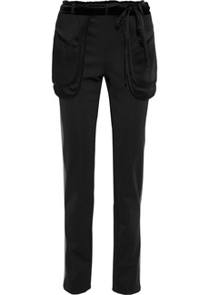 Valentino Woman Satin-trimmed Ponte Slim-leg Pants Black