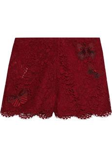 Valentino Woman Appliquéd Cotton-blend Corded Lace Shorts Claret