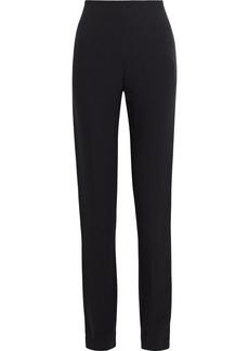 Valentino Woman Silk-crepe Slim-leg Pants Black