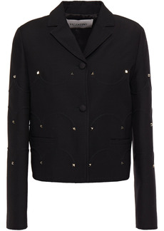 Valentino Woman Studded Wool And Silk-blend Crepe Jacket Black