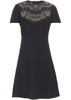 Valentino Woman Studded Wool And Silk-blend Crepe Mini Dress Black