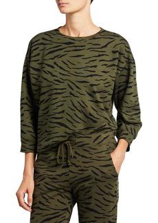 Velvet by Graham & Spencer Hilda Zebra-Print 3/4-Sleeve Sweatshirt