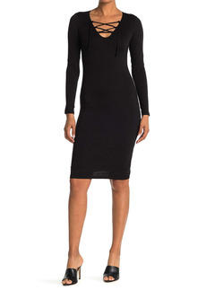 Velvet by Graham & Spencer V-Neck Lace Up Midi Dress