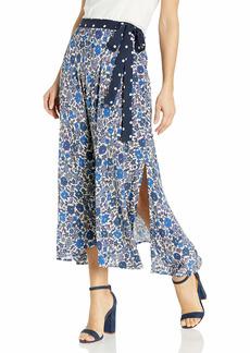 Velvet by Graham & Spencer Women's Olive Printed Tie Wrap Skirt