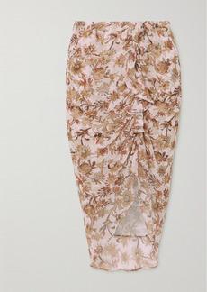Veronica Beard Hazel Ruched Floral-print Fil Coupé Silk-blend Chiffon Skirt