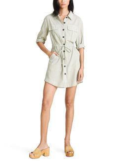 Veronica Beard Alyse Check Long Sleeve Cotton Shirtdress