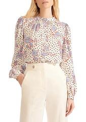 Veronica Beard Ashlynn Floral Polka Dot Stretch Silk Blouse