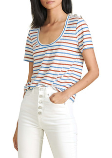 Veronica Beard Benji Stripe Linen T-Shirt