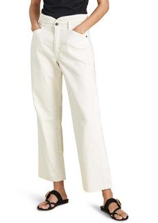 Veronica Beard Blake Nonstretch Notch Waist Straight Leg Jeans (Ecru)