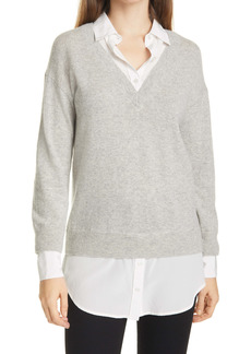 Veronica Beard Brami Mixed Media Layered Look Wool & Cashmere Sweater