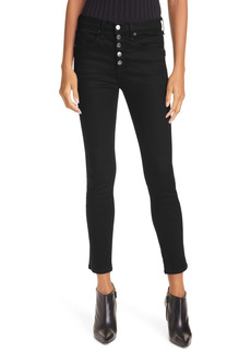 Veronica Beard Debbie High Waist Ankle Skinny Jeans (Onyx)