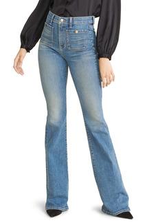 Veronica Beard Florence High Waist Flare Hem Jeans (Waterfall)