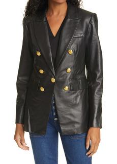 Veronica Beard Gaya Lambskin Leather Dickey Jacket