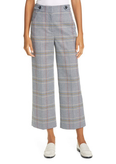 Veronica Beard Isley Plaid Wide Leg Crop Pants