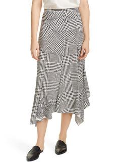 Veronica Beard Mac Houndstooth Paisley Asymmetrical Midi Skirt