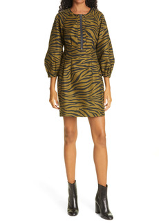 Veronica Beard Navi Animal Stripe Long Sleeve Minidress