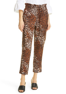 Veronica Beard Oksana Leopard Print Linen Crop Pants