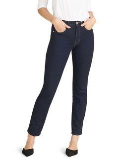 Veronica Beard Ryleigh High Waist Slim Straight Leg Jeans (Dark Night)