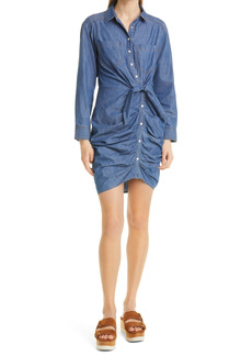 Veronica Beard Sierra Ruched Long Sleeve Denim Dress