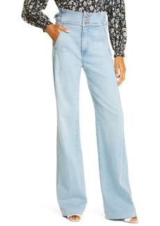 Veronica Beard Vira Wide Leg Jeans (Pale Stone)