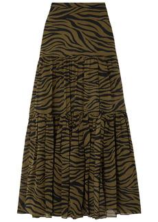 Veronica Beard Woman Serence Tiered Zebra-print Silk-chiffon Maxi Skirt Army Green