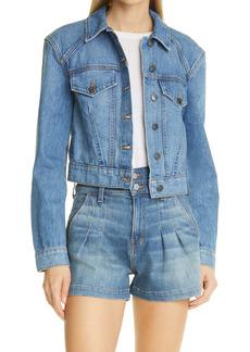 Veronica Beard Women's Dottie Strong Shoulder Nonstretch Denim Jacket